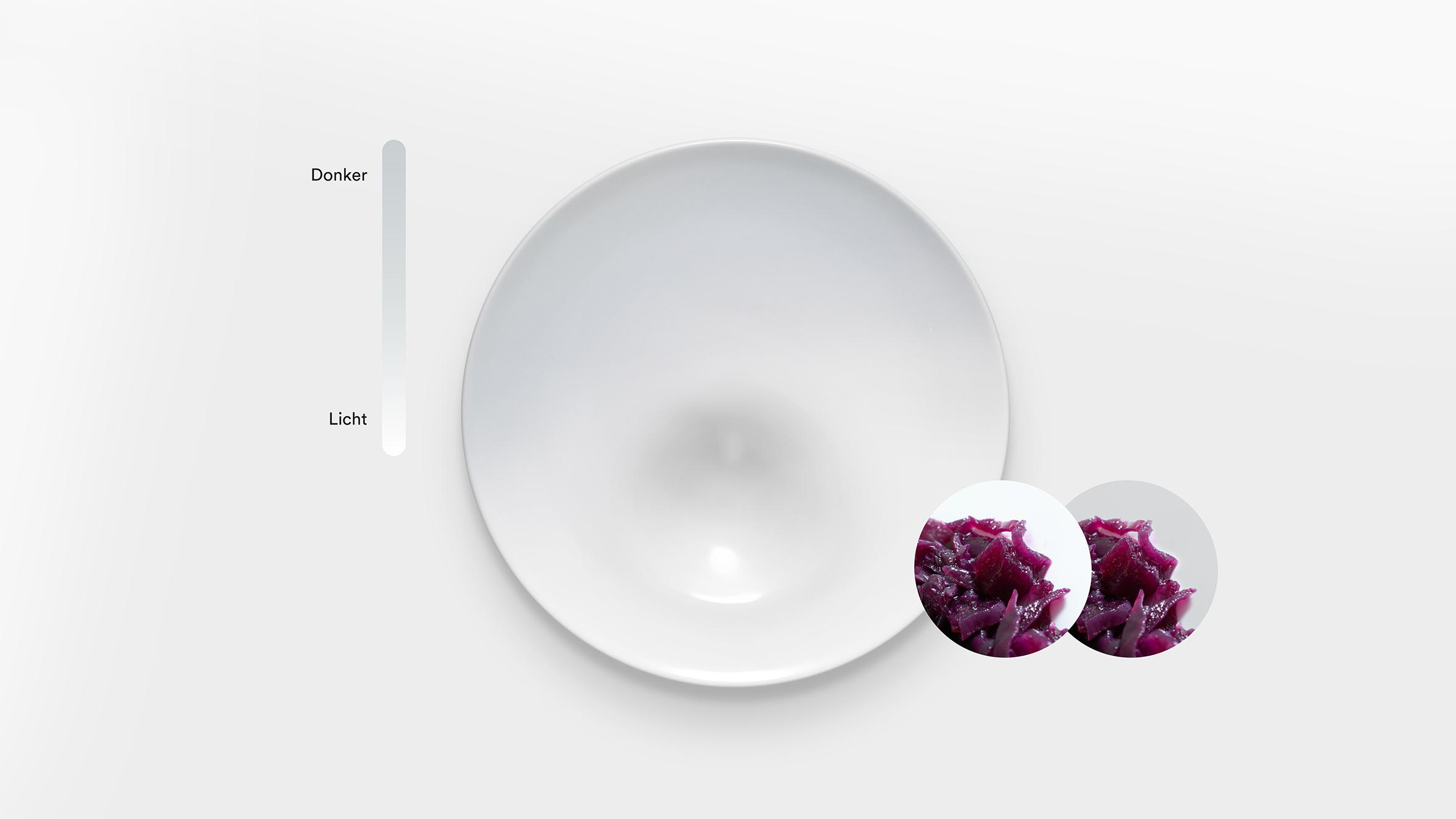 Het Helpende bord smakelijker door kleur