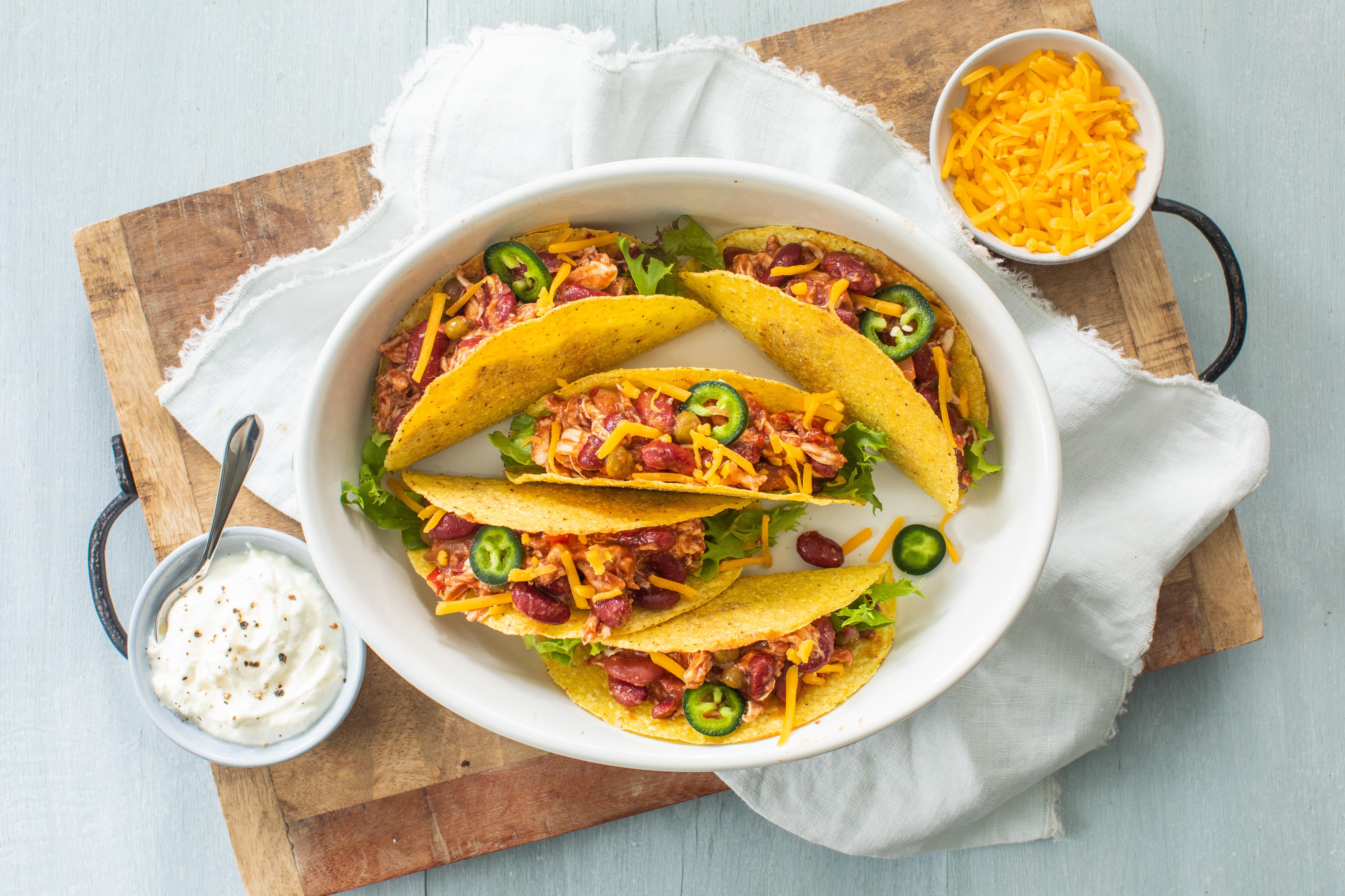 Tacos met Kidneybonen chili schotel